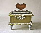Handmade Gift Box in shades of Green and Rust with Hear Top and Turned Wooden Legs for Home or Office Decor