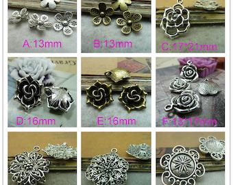 100 pcs  Flower Charm Pendant  Plum blossom pendant Rose flower pendant Hollow flower pendant charm