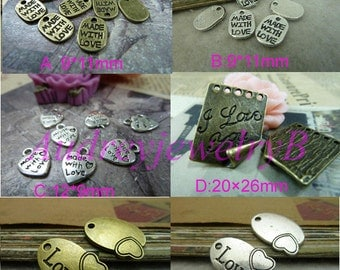 """20pcs Ancient bronze /Antique Silver/ """"made with love""""letter """"I Love You""""  Charm Pendant"""
