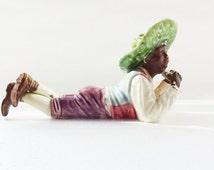 Vintage Figurine, African American Ceramic Boy,Melon Eater, Old Cermaic Ornament, American Black Boy Figurine. Damage