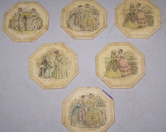 Vintage Set of Six French Provincial Coasters