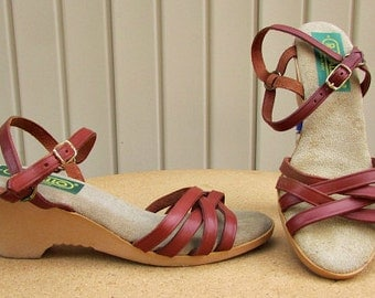 vintage 70s rust leather strappy wedge sandals 7.5 8 ankle strap rapallo made in italy hippie boho