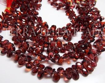 """Full 7"""" strand GARNET faceted pear briolette gem stone beads 6mm - 6.5mm red"""