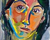 "Original Painting, Self Portrait, Woman, acrylic, signed art, 12"" x 9"""