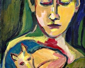 """Woman with Fox, Original Painting, acrylic paint on paper, 12"""" x 9"""""""