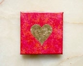 Golden heart -  gold leaf heart - acrylic painting -  home decoration - red, pink, orange - 12x12 cm