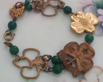 GIRL SCOUT BROWNIE pin vintage assemblage bracelet