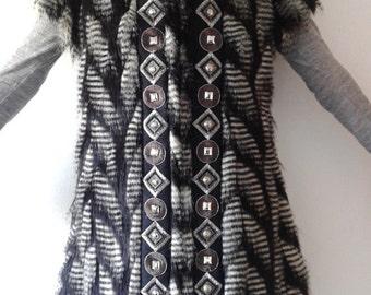 Luxury Faux Fur Animal Print Black and White Vest or Jacket