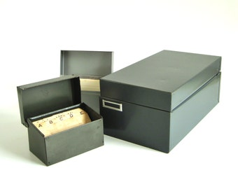 Metal Recipe Card File Boxes 3 x 5 or 4 x 6 Gray Index Card Organizer with Tabbed or Alphabetical Recipe Card Dividers