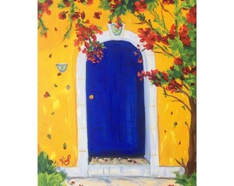 Original painting:  Blue Doorway in Greece, colorful deep canvas, yellow, red, travel, architecture, home decor