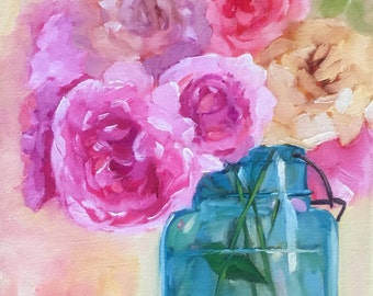 GICLEE print: fine art print of Peonies in Blue Jar, pink,  peony, floral, colorful, still life