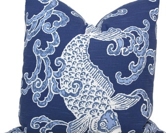Decorative Pillow Covers Blue Koi Fish pillow cover, 20x20 Toss Pillow, Accent Pillow, Throw Pillow, Pillow sham, Ronnie Gold pillow