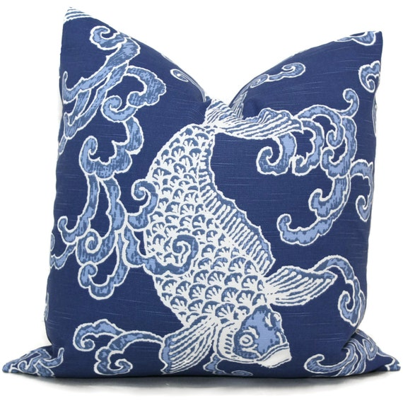 Decorative pillow covers blue koi fish pillow cover by for Koi fish pillow