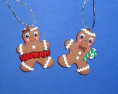 Polymer Clay Gingerbread Boy and Girl Ornament Set