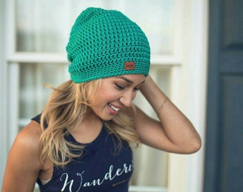 Crochet Slouchy beanie with suede logo
