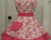 Womens Apron-Valentine Roses and Poetic Words Valentines Flounce Apron