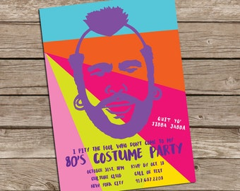 Mr.T 80's PARTY Invitation: Digital printable file *printing available upon request*
