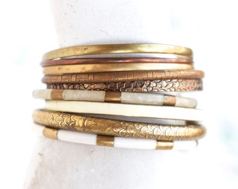 Beige and Brass Bangles - Instant Collection of 9 Boho Bracelets - Gypsy cuff
