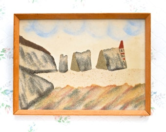 Sand Landscape Painting - Wall Folk Art Home Decor - The Needles Isle of Wight Souvenir - Antique Picture Frames