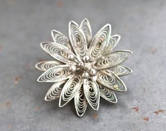 Dainty Filigree Flower Lapel Pin - Antique Patina Brooch