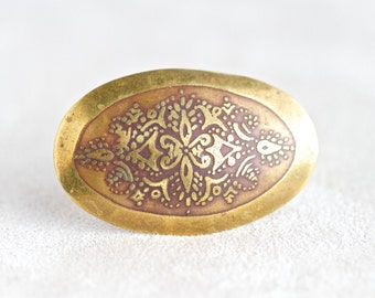 Oval Brass Lapel Pin - Antique Brooch
