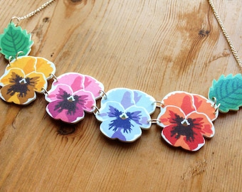 Spring/Summer Pansy Chain Rainbow Flower Necklace