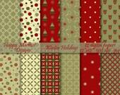 "Winter Digital Paper Scrapbook Background Patterned Printable - 12 designs - 12""x 12""- 300 dpi - jpg - WINTER HOLIDAYS"