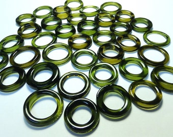 Recycled  Multi Colors Recycled Kiln Polished Bottle Rings 36 Rings (R934)