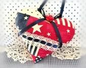 Americana Heart USA Patriotic Heart Door Hanger Heart Ornament, Red Ivory Blue, Bowl Filler, Handmade CharlotteStyle Decorative Folk Art