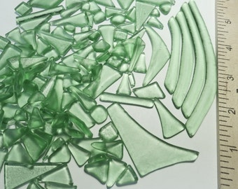 Green Recycled Glass Kiln Formed 136 Pieces (B796)