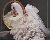 Annie's Attic Crochet Fashion Bed Doll Pattern 1991/1992 Antebellum Cotillion Bridal Gown