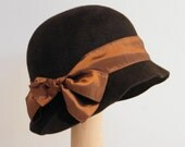 Brown fur felt  cloche, 20's style hat for women, dressy winter hat, brown Downton Abbey cloche Israel