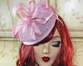 Pink Fascinator Hat - Pink Tea Party Hat - Pink Wedding Fascinator Headband, Fancy Church Hat, Wedding Fascinate