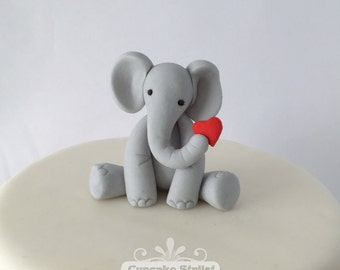 Gumpaste Elephant with Heart Cupcake or Cake Topper, by Cupcake Stylist on Etsy
