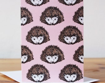 Hedgehog Notecard - Hedgehog card - woodland card - thank you card - porcupine notelet - pink notecard - Hedgehog writing paper - cute card