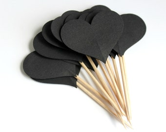 Black heart cupcake toppers, birthdays, weddings, showers, party picks