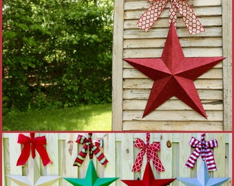 Glitter Star Wreath -Barn Star - Red Star Decor - Patriotic  Wreath - You choose bow - Many Options