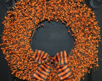Pumpkin Berry Wreath - Fall Wreath - Halloween Wreath - Choose Bow -Many Bow Options