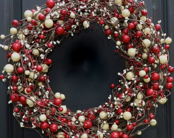 Red and White Wreath - Holiday Wreath - Valentine Wreath - Holiday Wreath