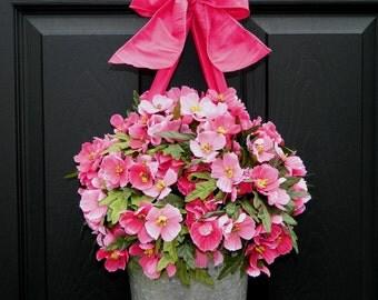 Spring  Wreath - Front Door Wreath - Galvanized Bucket Wreath - Holiday Gift - Choose Bow