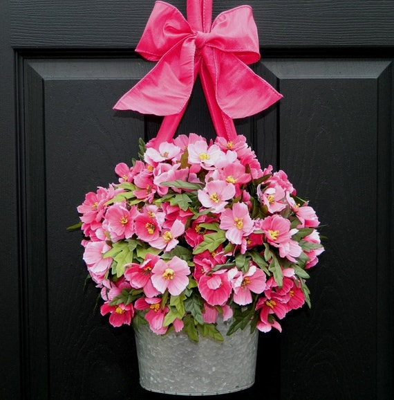 Spring  Wreath - Front Door Wreath - Galvanized Bucket Wreath - Holiday Gift - Choose Bow