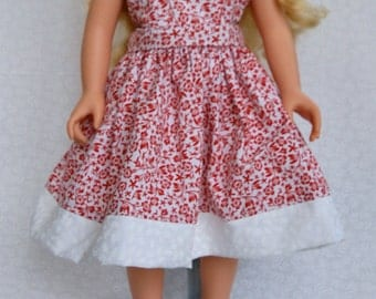 Red and White Sleevless dress for an 18 inch Doll