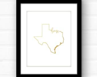 Texas decor | gold foil Texas art print | gold foil print | Texas print | gold foil nursery art print | Texas nursery art | Austin | Dallas