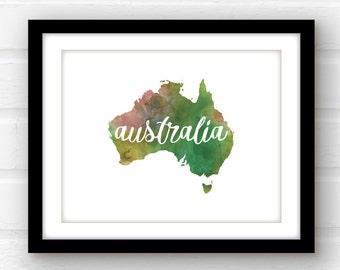 Australia print | customizable Australia poster | Australia watercolor print | Melbourne Sydney Brisbane Perth | Australia travel poster |