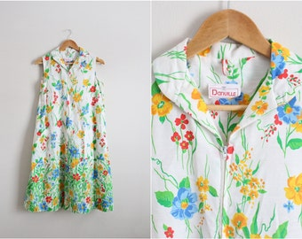 Vintage Danville Floral Dress / 50s Day Dress / Cotton Dress/ Size M/L