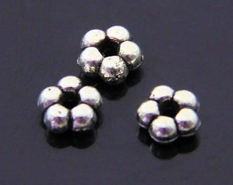 40pcs flower spacer, silver spacer beads-5mmX5mm-Antique silver spacer beads-ALK 208