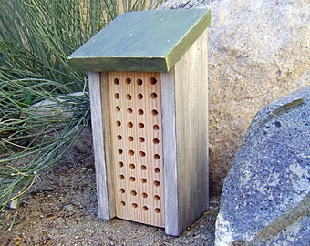 Painted BEE HOUSE, Rustic Sage and White, Hand Made, Hand Painted. For Solitary Bees. Ready to Ship