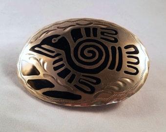 Vintage 1980's Crown Silver American Indian Design Belt Buckle
