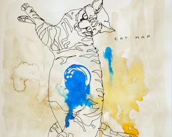 Original Sketch of a Cat, Animal, Contemporary Original Study, Quick Sketch