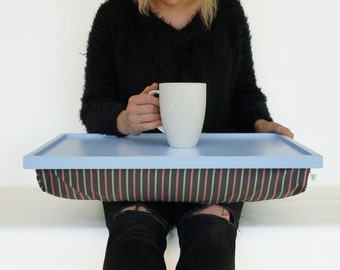 Lap desk, Breakfast serving Tray- Light blue with Grey, mint and pale red striped pillow